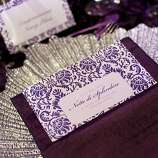 A place setting sits on a table in the dinner tent outside War Memorial Opera House during the San Francisco Opera Opening Night Gala in San Francisco, Calif., on September 7, 2012.  The decor for the event was designed by Robert Fountain.