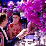 Robert Shwarts (left) talks with Afsaneh Akhtari while sitting down to dinner during the San Francisco Opera Opening Night Gala in San Francisco, Calif., on September 7, 2012.