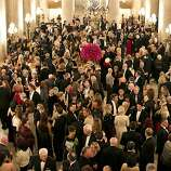 Guest of the San Francisco Opera Opening Night Gala fill War Memorial Opera House after the performance let out in San Francisco, Calif., on September 7, 2012.