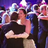 Guests of the San Francisco Opera Opening Night Gala enjoy the dance floor during the post-performance party, which was set up in a tent outside War Memorial Opera House, in San Francisco, Calif., on September 7, 2012.