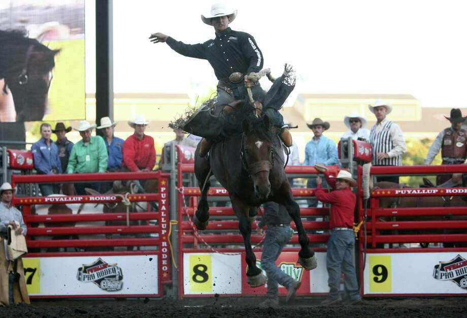 Cowboy Rylan Geiger tries to hold on for eight seconds during the Puyallup Pro Rodeo on the opening day of the Puyallup Fair on Friday, September 7, 2012. The fair, one of the largest in the county, runs until September 23rd. Photo: JOSHUA TRUJILLO / SEATTLEPI.COM