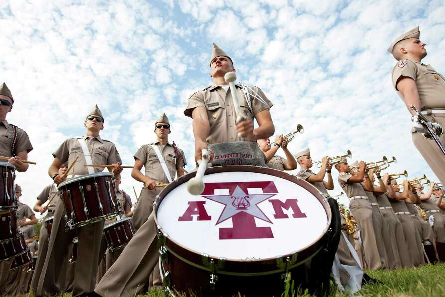 Carter Ray, of Floresville, plays 'When Johnny Comes Marching Home' with the Fighting Texas Aggie Ba