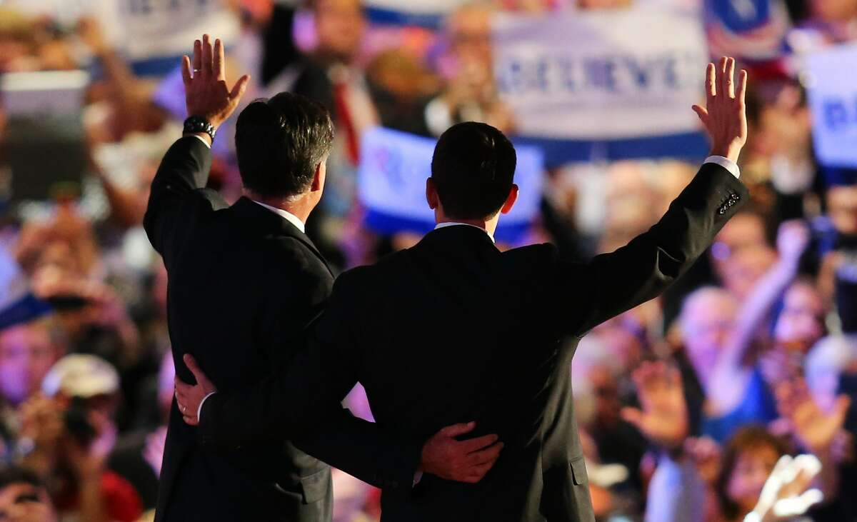 TAMPA, FL - AUGUST 30: Republican presidential candidate, former Massachusetts Gov. Mitt Romney (L) and Republican vice presidential candidate, U.S. Rep. Paul Ryan (R-WI) wave on stage after accepting the nomination during the final day of the Republican National Convention at the Tampa Bay Times Forum on August 30, 2012 in Tampa, Florida. Former Massachusetts Gov. Mitt Romney was nominated as the Republican presidential candidate during the RNC which will conclude today. (Joe Raedle / Getty Images)