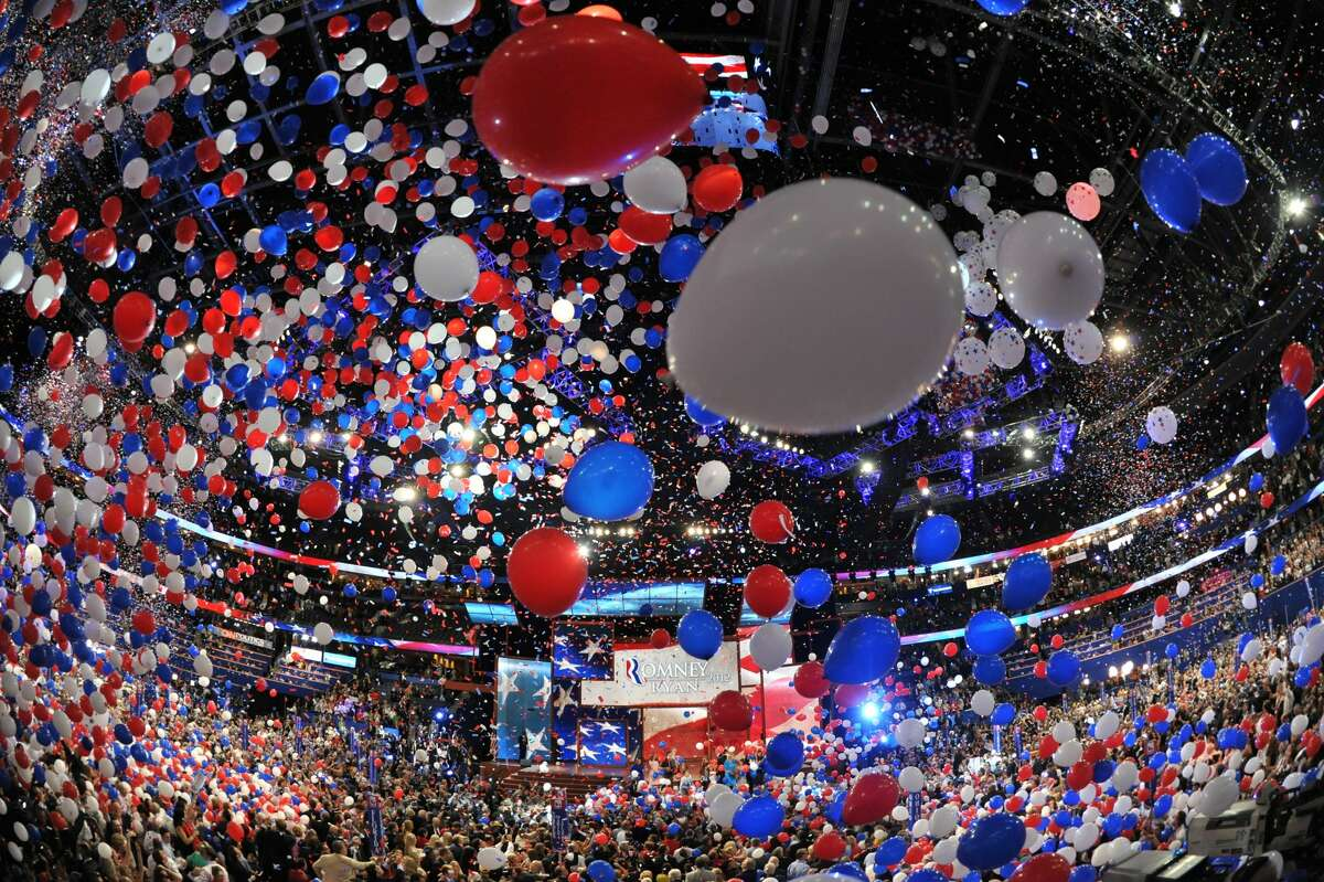 Balloons swirl in the air following Republican presidential candidate Mitt Romney's acceptance speech at the Tampa Bay Times Forum in Tampa, Florida, on August 30, 2012 on the final day of the Republican National Convention (RNC). The RNC culminates today with the formal nomination of Mitt Romney and Paul Ryan as the GOP presidential and vice-presidential candidates in the US presidential election. (STAN HONDA / AFP/Getty Images)