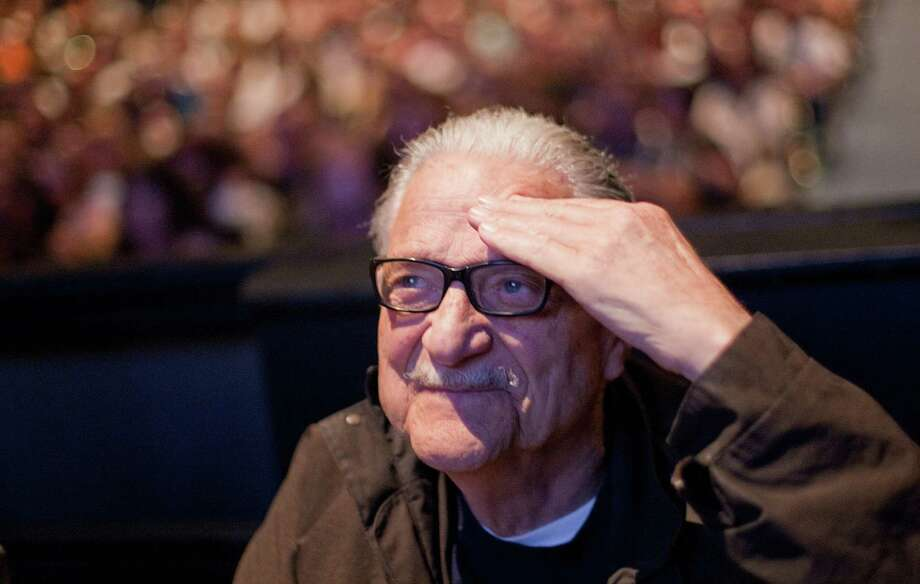 Bob Newman, who played almost the entire supporting cast, including JP Patches' girlfriend Gertrude, offers a salute during a celebration of JP Patches after the July death of Chris Wedes, the actor who played the iconic character. Thousands gathered in McCaw Hall on Saturday, September 8, 2012 to honor Wedes and the beloved character he gave to children and their parents. Photo: JOSHUA TRUJILLO / SEATTLEPI.COM