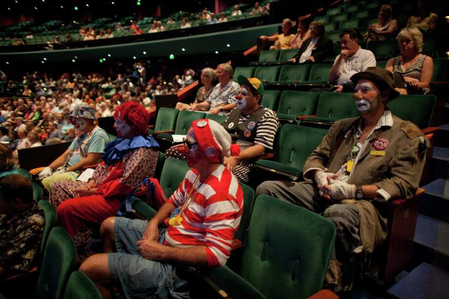 Seafair Clowns take their seats during a celebration of JP Patches after the July death of Chris Wedes, the actor who played the iconic character. Thousands gathered in McCaw Hall on Saturday, September 8, 2012 to honor Wedes and the beloved character he gave to children and their parents. Photo: JOSHUA TRUJILLO / SEATTLEPI.COM