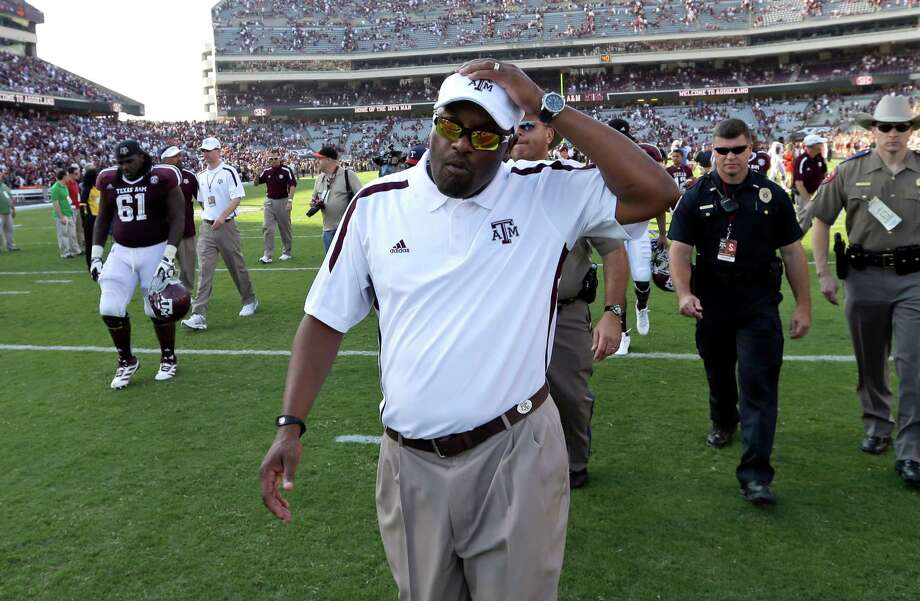 Texas A&M coach Kevin Sumlin walks off the field after losing an NCAA college football game against Florida, Saturday, Sept. 8, 2012, in College Station, Texas. On Saturday, Sumlin will lead the Aggies to The Swamp for the first time since 1962. Photo: David J. Phillip, Associated Press / AP