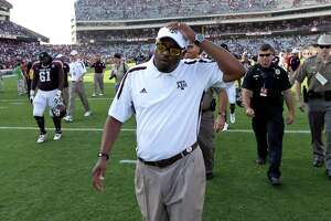 Texas A&M coach Kevin Sumlin walks off the field after losing an NCAA college football game against Florida, Saturday, Sept. 8, 2012, in College Station, Texas. Florida beat Texas A&M 20-17. Texas A&M begins a new era with its first Southeastern Conference game after leaving the Big 12 Conference. (AP Photo/David J. Phillip)