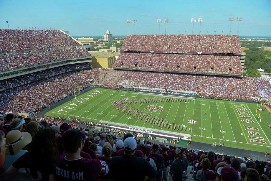 The Fighting Texas Aggie Band performs during halftime of an NCAA college football game between Florida and Texas A&M, Saturday, Sept. 8, 2012, in College Station, Texas. Texas A&M begins a new era with its first Southeastern Conference game after leaving the Big 12 Conference. (AP Photo/Dave Einsel) Photo: Dave Einsel, Associated Press / FR43584 AP