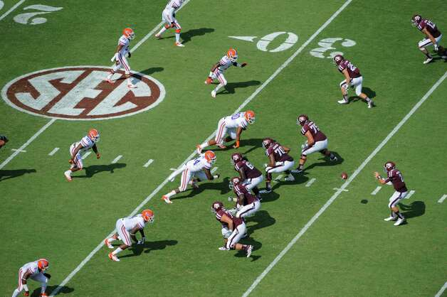 Texas A&M lines up against Florida during the second quarter of an NCAA college football game, Saturday, Sept. 8, 2012, in College Station, Texas. Texas A&M begins a new era with its first Southeastern Conference game after leaving the Big 12 Conference. (AP Photo/Dave Einsel) Photo: Dave Einsel, Associated Press / FR43584 AP