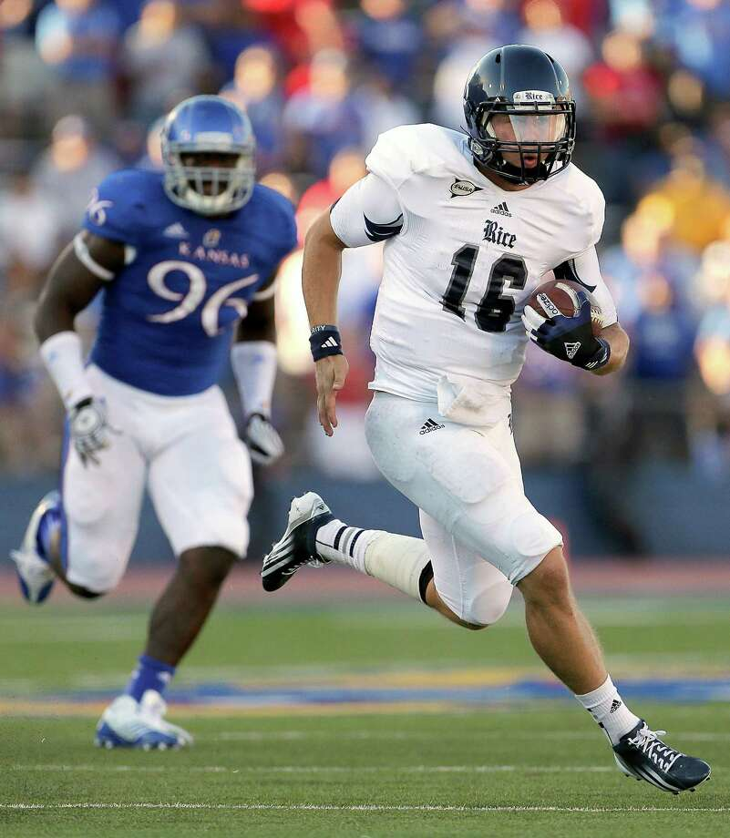 Rice quarterback Taylor McHargue has had success in the ground game as the Owls' second-leading rusher. (AP Photo/Charlie Riedel) Photo: Charlie Riedel, Associated Press / AP