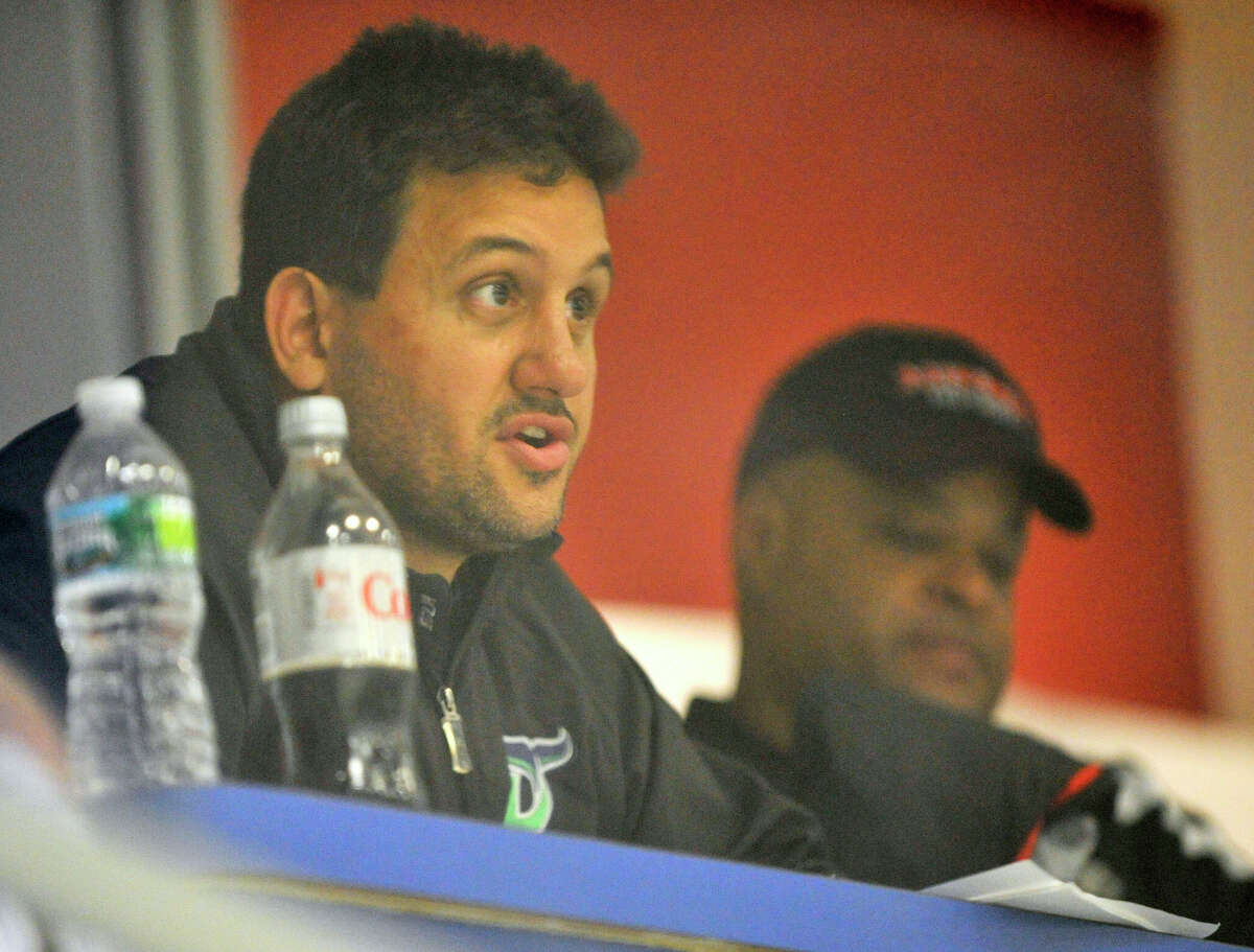 Head coach Phil Esposito watches the Danbury Whalers' annual Green and White Game from the stands at Danbury Ice Arena on Saturday, Sept. 8, 2012.