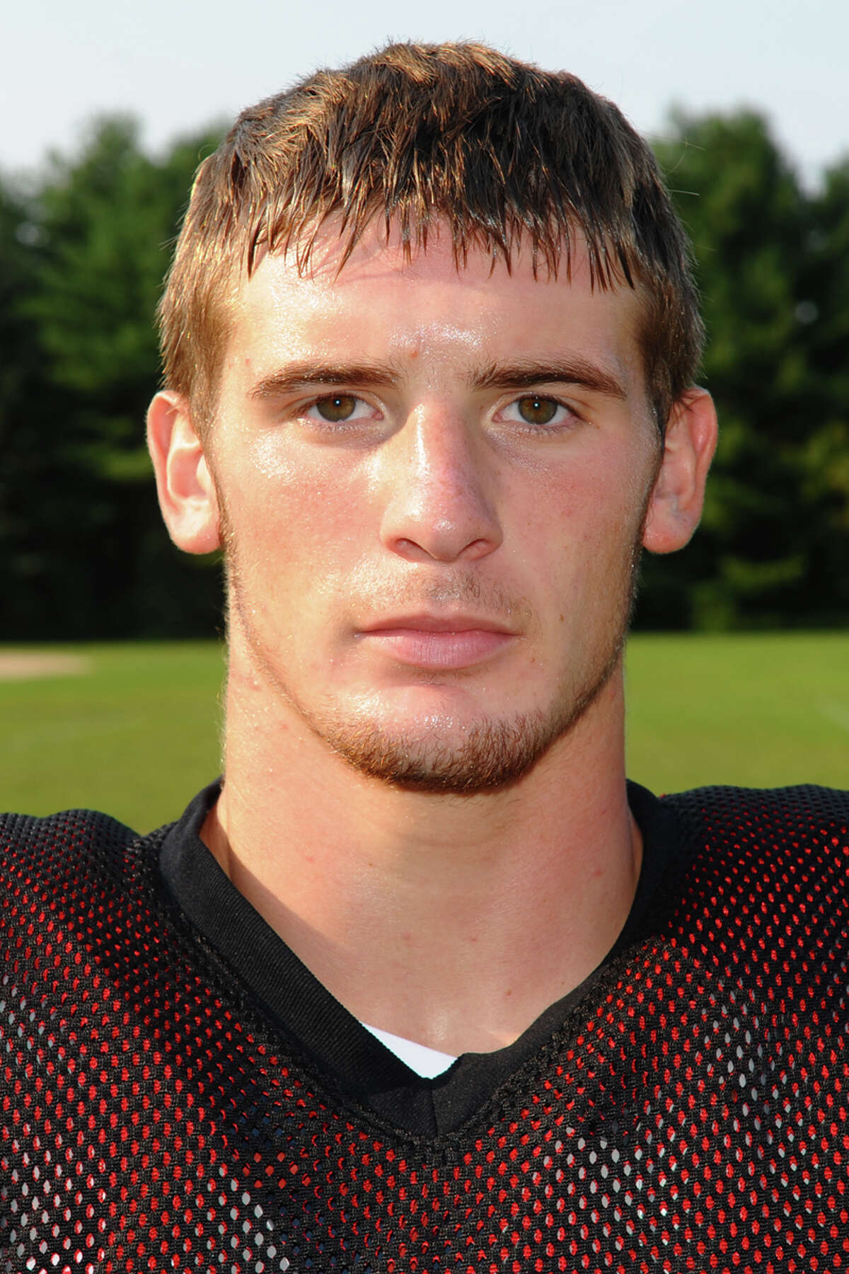 Masuk High School's Thomas Milone during football practice in Monroe, Conn. on Wednesday August 30, 2012.