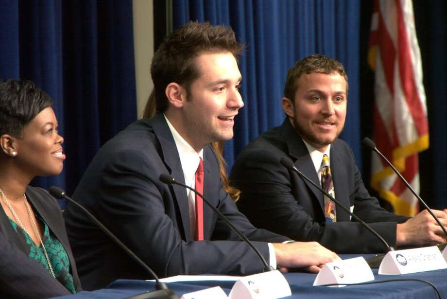 """Alexis Ohanian, center, co-founder of Reddit, joined the fight to stop a pair of bills that would have held websites accountable for pirated content.  """"The Internet represents so much of the awesomeness this country was founded on,"""" he says. Photo: HANDOUT / THE WASHINGTON POST"""