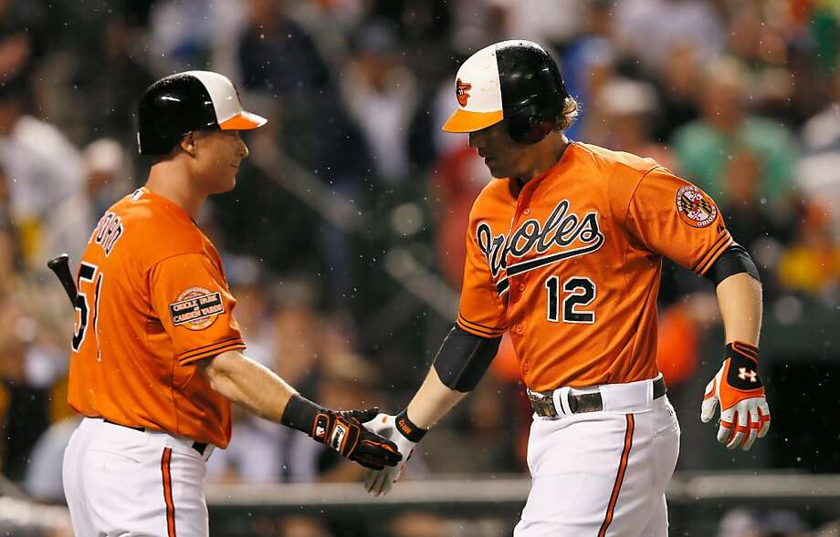 Lew Ford #51 congratulates teammate Mark Reynolds #12 of the Baltimore Orioles after Reynolds hit a solo home run against the New York Yankees during the second inning at Oriole Park. Photo: Rob Carr, Getty Images