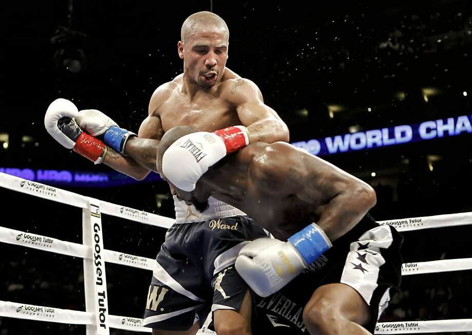 Andre Ward,  works on his opponent Chad Dawson for the WBA/WBC super middleweight title at the Oracle Arena in Oakland, Calif., on Saturday September 08, 2012.  Andre Ward scored a technical knock out in the 10th round against Dawson to retain his title. Photo: Michael Macor, The Chronicle