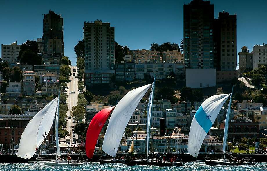In this photo provided by Rolex, sailboats compete in the Rolex Big Boat Series near the San Francisco city front Saturday, Sept. 8, 2012.  The four-day regatta hosting 66 boats on San Francisco Bay concludes Sunday. Photo: Daniel Forster, Associated Press