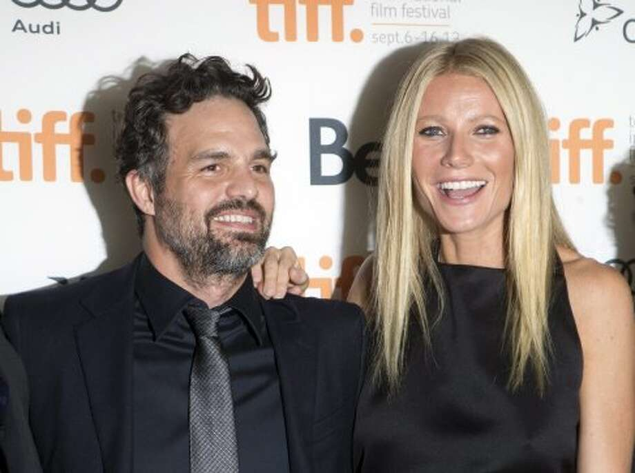 "Gwyneth Paltrow (right) and Mark Ruffalo pose on the red carpet at the gala for the new movie ""Thanks For Sharing."" (AP)"