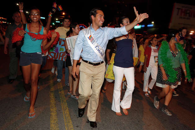 "FREEDOM TO MARRY AND LGBT ISSUES: Castro long has shown support to the LGBT community. Early this year, he signed a petition in favor of legalizing gay marriage and he supported benefits in last year's city budget for the same-sex partners of city employees. He also was the first San Antonio mayor to be the grand marshal of the city's Pride Parade in 2009. ""To equate lesbians and gays with something immoral is just wrong,"" he said in the face of criticism for his stand on gay rights and equality issues. In September 2011, Castro successfully pushed for the city to offer domestic partner benefits, winning an 8-3 vote to pass the initiative. This January, Castro signed the Freedom to Marry Pledge, joining mayors of several major U.S. cities in support of same-sex marriage.  Earlier this year, Barack Obama stated his support for same-sex marriage, a first for a sitting U.S. president. Photo caption: Mayor Julián Castro walks down Main Street as grand marshal in the city's Gay Pride San Antonio Parade on July 4, 2009. (Jennifer Whitney / San Antonio Express-News)"