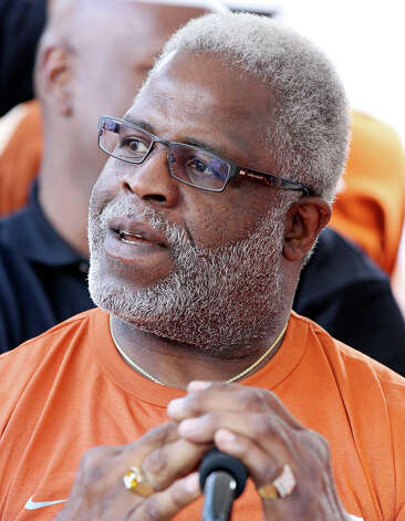 Former Texas Longhorns player Earl Campbell takes in the sights before taking part in the coin flip of the Texas Longhorns and New Mexico Lobos game Saturday Sept. 8, 2012 at Texas Memorial Stadium in Austin, Tx. Photo: Edward A. Ornelas, Express-News / © 2012 San Antonio Express-News