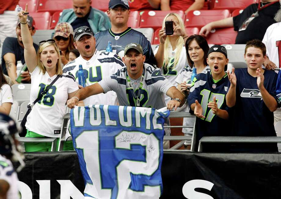 Seattle Seahawks fans cheer on their team prior to an NFL football game against the Arizona Cardinals Sunday, Sept. 9, 2012, in Glendale, Ariz. Photo: AP