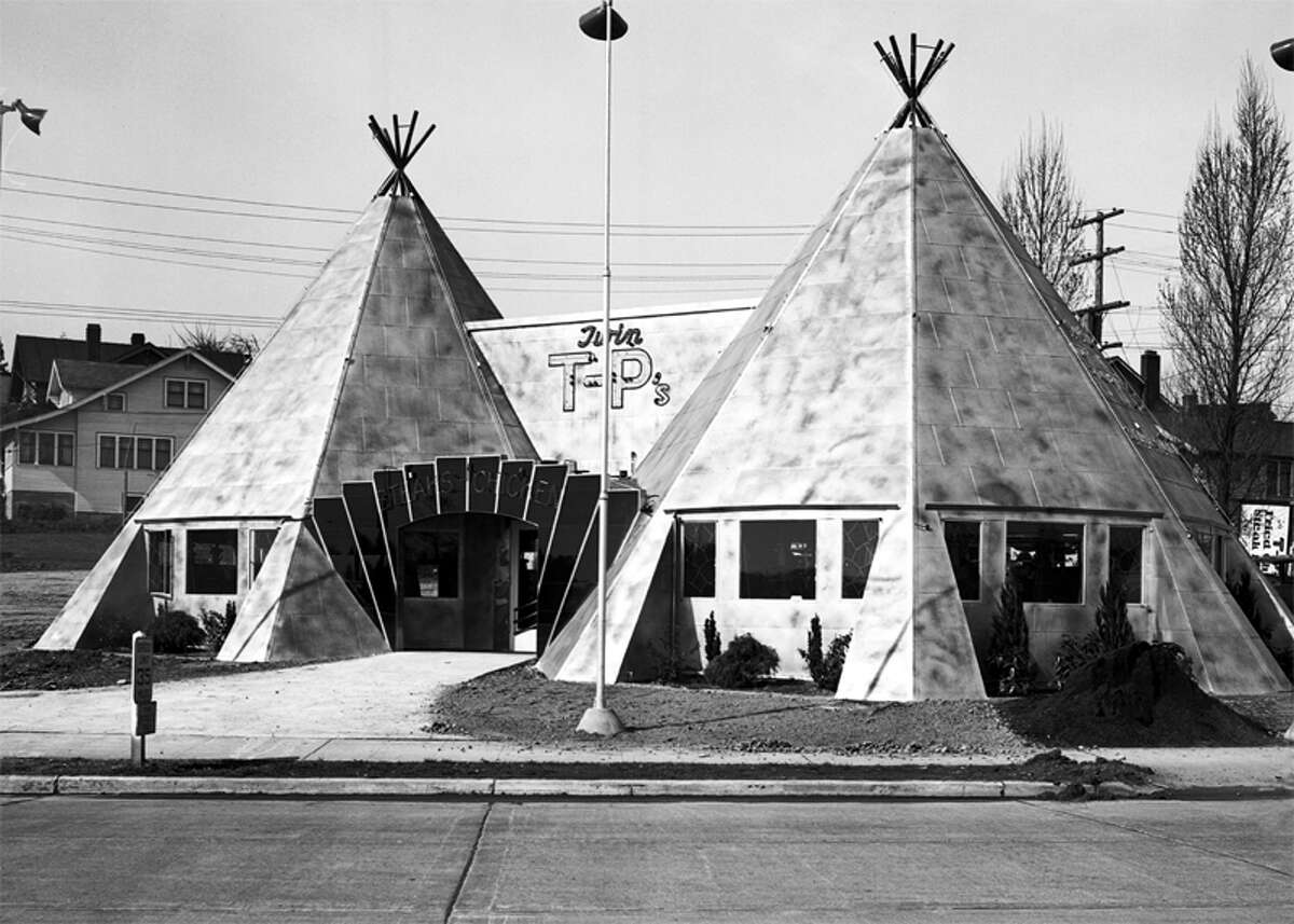 Clark's Twin T-Ps restaurant, later renamed the Twin Teepees, came into existence during the golden age of the roadside establishment. It opened in 1937 on Aurora Avenue North in Seattle and managed to remain until 2000, when a fire caused its closure. It was razed in 2001. Perhaps the most notable thing about the Twin Teepees (aside from its issues with cultural appropriation in the architecture) is that Harland Sanders is said to have perfected his fried chicken recipe there before going off to open Kentucky Fried Chicken.