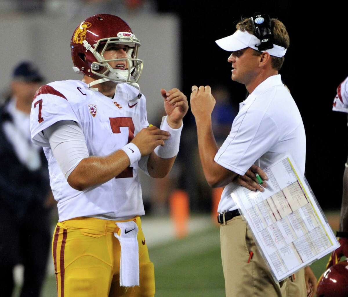 Southern California coach Lane Kiffin, right, talks with quarterback Matt Barkley during the fourth quarter of an NCAA college football game against Syracuse on Saturday, Sept. 8, 2012, in East Rutherford, N.J.