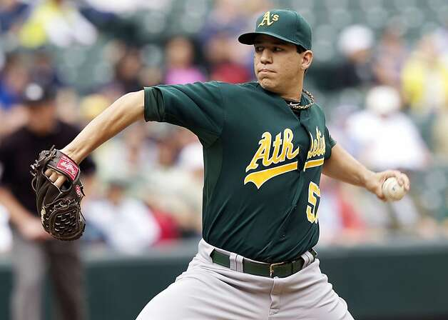 Oakland Athletics starter Tommy Milone delivers a pitch during the second inning of a baseball game against the Seattle Mariners in Seattle, Sunday, Sept. 9, 2012. (AP Photo/Stephen Brashear) Photo: Stephen Brashear, Associated Press