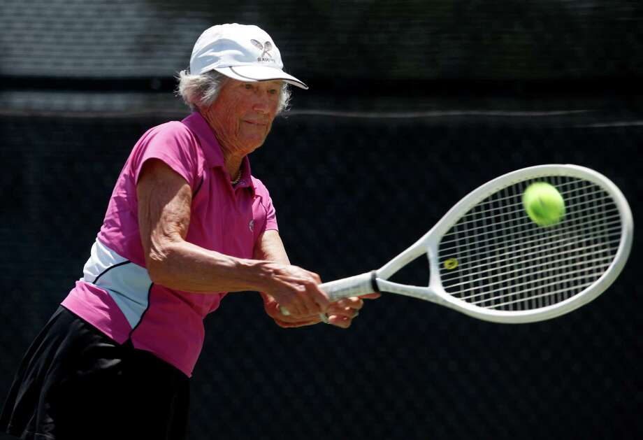 Margaret Canby, seen practicing at McFarlin Tennis Center, recently won a national tournament in her age group, 80-plus, and was named to the Texas A-Kingsville Athletic Hall of Fame. She is headed to the world championships on Sept. 6. Photo: William Luther, San Antonio Express-News / © 2012 San Antonio Express-News