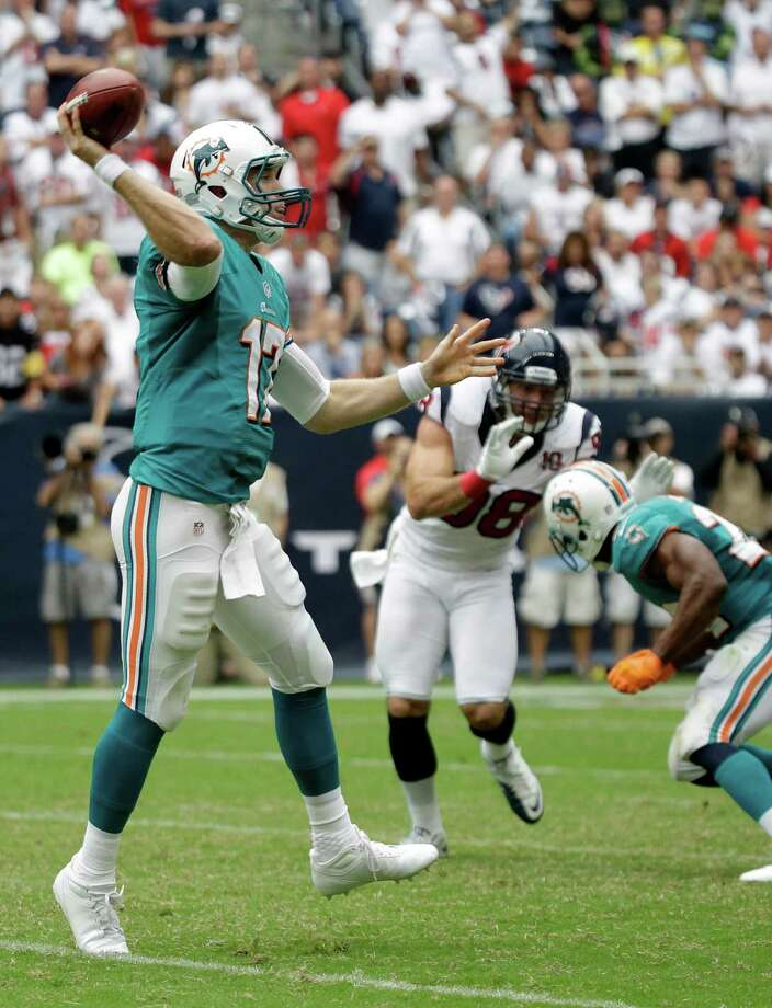 Miami Dolphins quarterback Ryan Tannehill (17) in the fourth quarter of an NFL football game against the Houston Texans Sunday, Sept. 9, 2012, in Houston. (AP Photo/Eric Gay) Photo: Eric Gay, Associated Press / AP