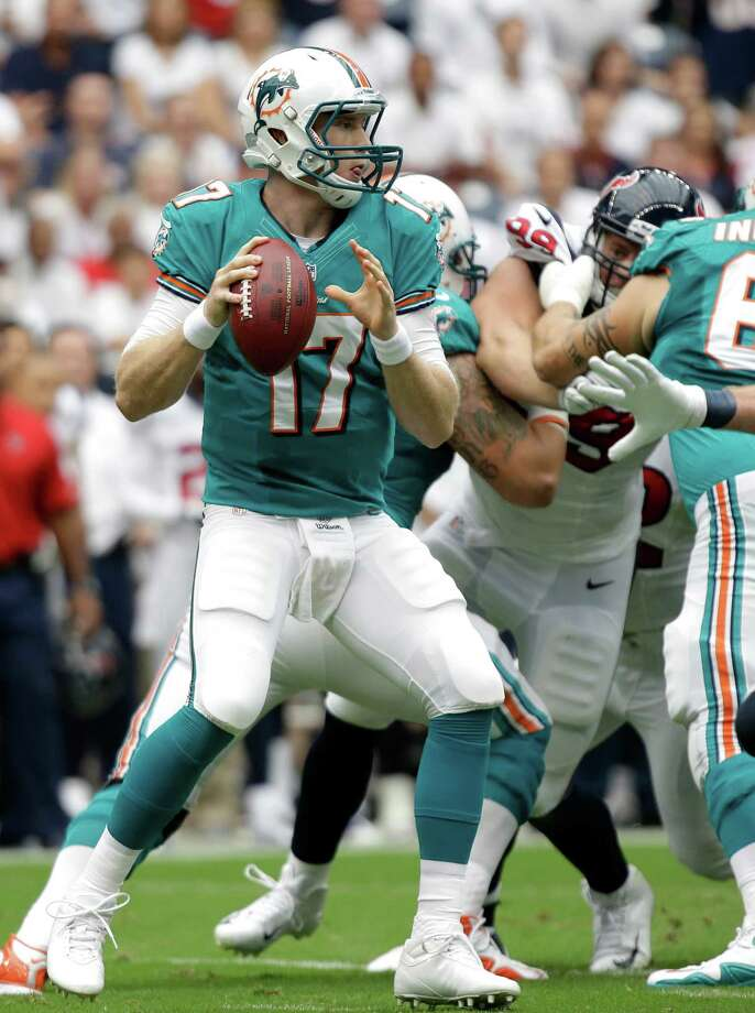 Miami Dolphins quarterback Ryan Tannehill in the first quarter of an NFL football game against the Houston Texans Sunday, Sept. 9, 2012, in Houston. (AP Photo/Eric Gay) Photo: Eric Gay, Associated Press / AP