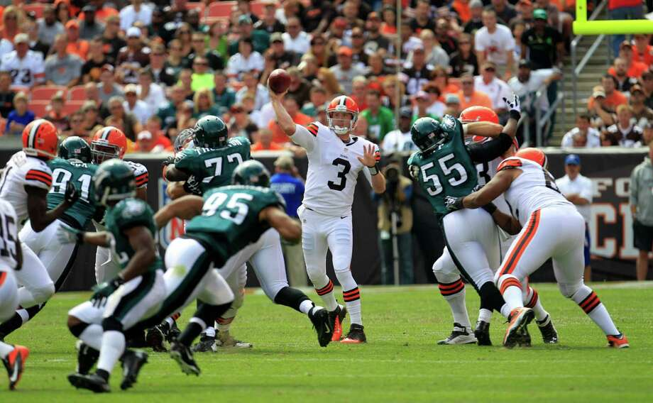 Cleveland Browns quarterback Brandon Weeden (3) passes against the Philadelphia Eagles during an NFL football game Sunday, Sept. 9, 2012, in Cleveland. (AP Photo/Tony Dejak) Photo: Tony Dejak, Associated Press / AP