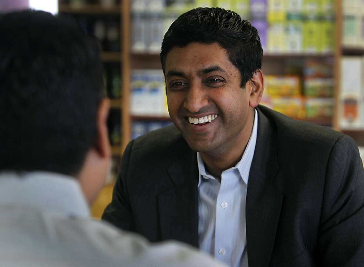Ro Khanna discusses labor issues with former UAW past president Sergio Santos at Suju's Coffee shop in Fremont, Calif. on Thursday, Jan. 19, 2012. Khanna is considering a run for the Congressional seat currently held by Pete Stark but needs to wait until the 21-term incumbent decides to step aside.