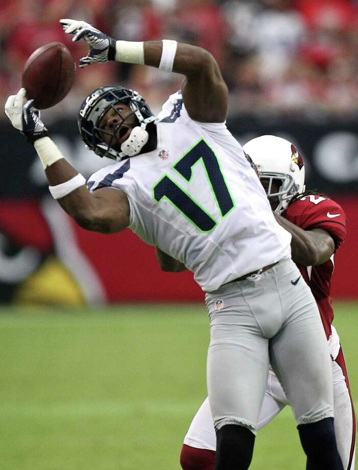 Seattle Seahawks wide receiver Braylon Edwards (17) makes a catch against the Arizona Cardinals during the second half of an NFL football game, Sunday, Sept. 9, 2012,in Glendale, Ariz. The Cardinals won 20-16. Photo: AP