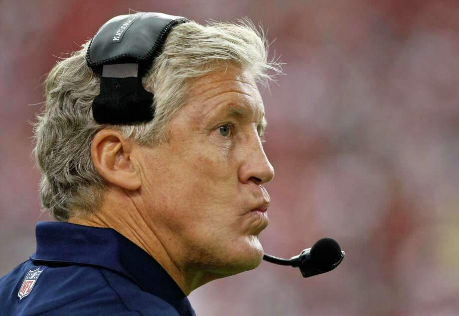 Seattle Seahawks head coach Pete Carroll reacts to a call during the second half of an NFL football game against the Arizona Cardinals, Sunday, Sept. 9, 2012, in Glendale, Ariz. The Cardinals won 20-16. Photo: AP