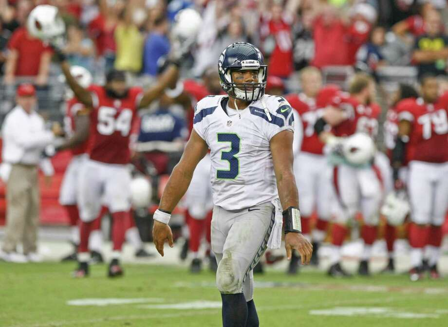 Seattle Seahawks quarterback Russell Wilson (3) looks to his bench as time expires against the Arizona Cardinals during the second half of an NFL football game, Sunday, Sept. 9, 2012,in Glendale, Ariz. The Cardinals won 20-16. Photo: AP