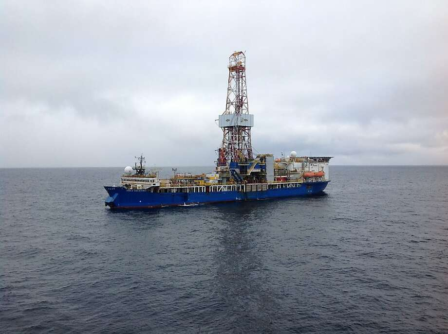 The Noble Discoverer drill ship prepares for its initial Chukchi Sea drilling operation, the first by Shell Oil in the area in more than 20 years. Photo: Courtesy Shell Oil Co.