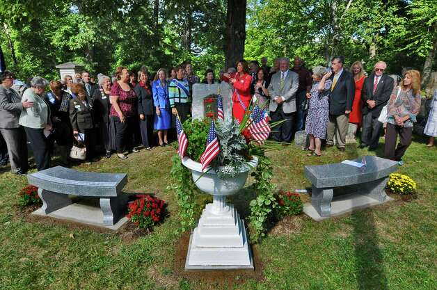 New stone benches were part of a rededication of the Uncle Sam burial site at Oakwood Cemetery, by the NYS Organization of the Daughters of the American Revolution, on Sunday Sept. 9, 2012 in Troy, NY.   (Philip Kamrass / Times Union) Photo: Philip Kamrass / 00019171A