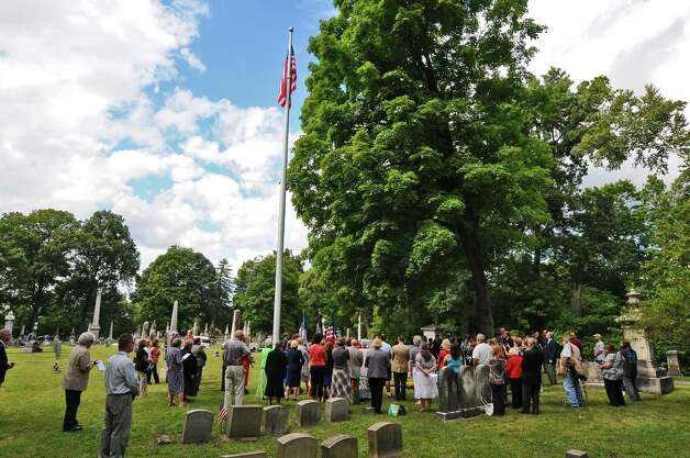View of the rededication of the Uncle Sam burial site at Oakwood Cemetery, by the NYS Organization of the Daughters of the American Revolution, on Sunday Sept. 9, 2012 in Troy, NY.   (Philip Kamrass / Times Union) Photo: Philip Kamrass / 00019171A