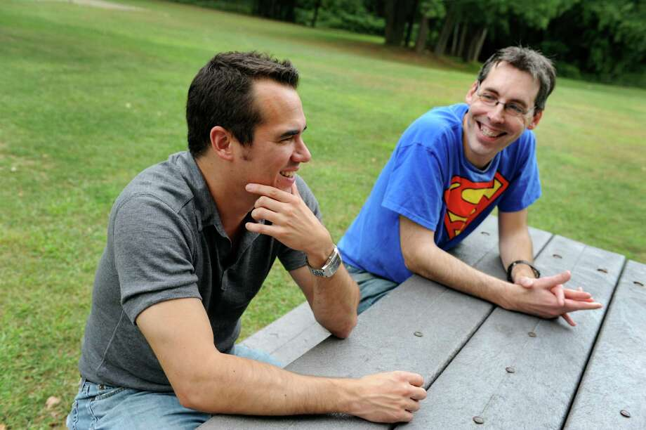 "Actor Mark Pezzula, who portrays Captain Amazing, left, and Jeff Burns, writer and producer of the web series ""Super Knocked Up,"" talk about the series on Wednesday, Sept. 5, 2012, at The Harriman State Campus in Albany, N.Y. (Cindy Schultz / Times Union) Photo: Cindy Schultz / 00019115A"