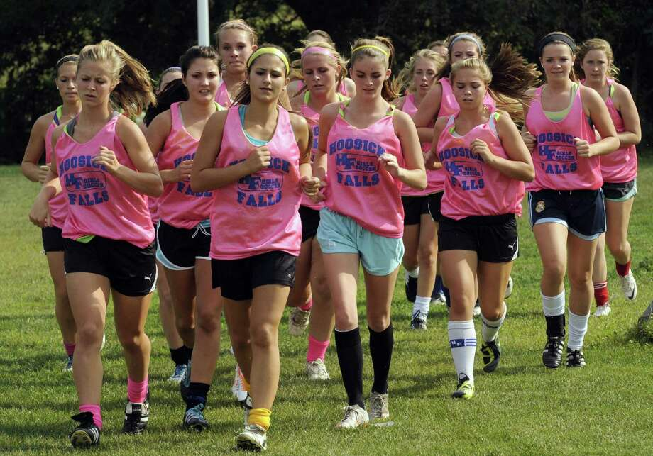 The Hoosick Falls High School girls' soccer team practices in Hoosick Falls, NY Friday Sept. 7, 2012. (Michael P. Farrell/Times Union) Photo: Michael P. Farrell