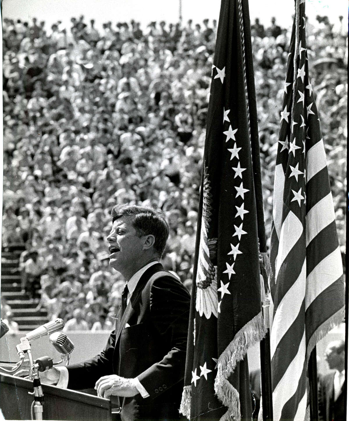 In 1962, President John F. Kennedy urged the nation to travel to the moon. His challenge came true on July 20, 1969, when astronauts landed and Neil Armstrong walked on its surface the next day.