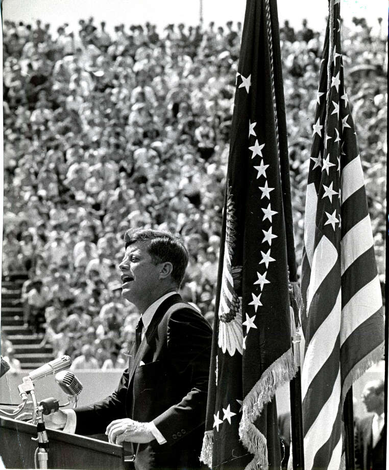 In 1962,  President John F. Kennedy urged the nation to travel to the moon. His challenge came true on July 20, 1969, when astronauts landed and Neil Armstrong walked on its surface the next day. Photo: Ted Rozumalski / Houston Chronicle