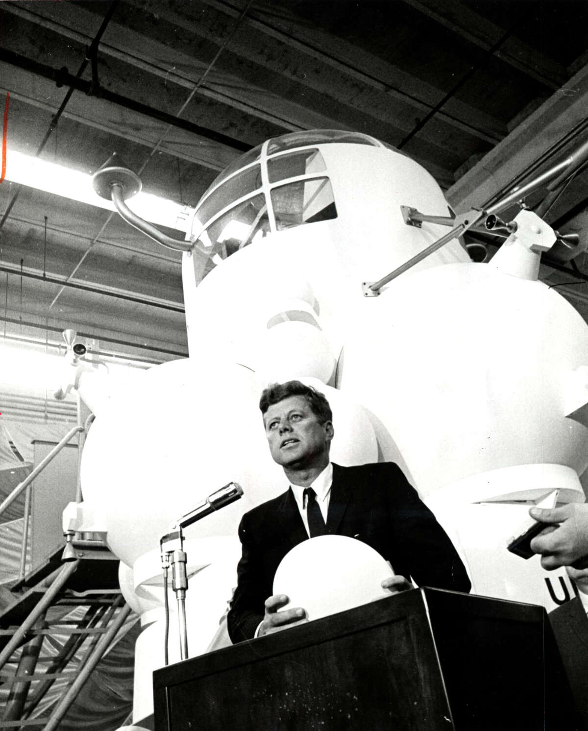 Kennedy's Space Tour, as the press called it in 1962, included a stop at NASA's Spacecraft Research Division, where he stood before the Lunar Excursion Module.