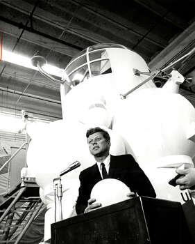 "Kennedy's Space Tour, as the press called it in 1962, included a stop at NASA's Spacecraft Research Division, where he stood before the Lunar Excursion Module. There he said, ""We have vowed that we shall not see space filled with weapons of mass destruction, but with instruments of knowledge and understanding."" / Houston Chronicle"