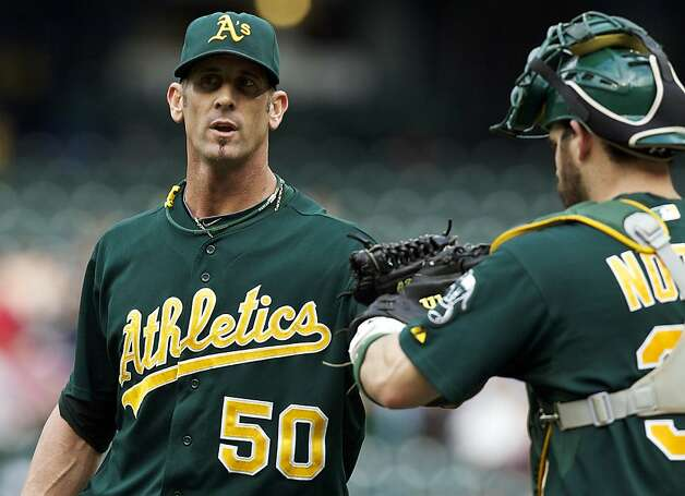 Oakland Athletics reliever Grant Balfour is congratulated by catcher Jonny Gomes after closing a baseball game against the Seattle Mariners at Safeco Field in Seattle, Sunday, Sept. 9, 2012. The Athletics won 4-2. (AP Photo/Stephen Brashear) Photo: Stephen Brashear, Associated Press