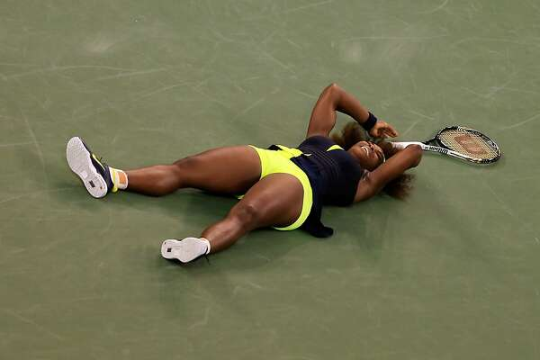 NEW YORK, NY - SEPTEMBER 09:  Serena Williams of the United States celebrates match point after defeating Victoria Azarenka of Belarus to win the women's singles final match on Day Fourteen of the 2012 U.S. Open at the USTA Billie Jean King National Tennis Center on September 9, 2012 in the Flushing neighborhood, of the Queens borough of New York City.  (Photo by Chris Trotman/Getty Images for USTA)