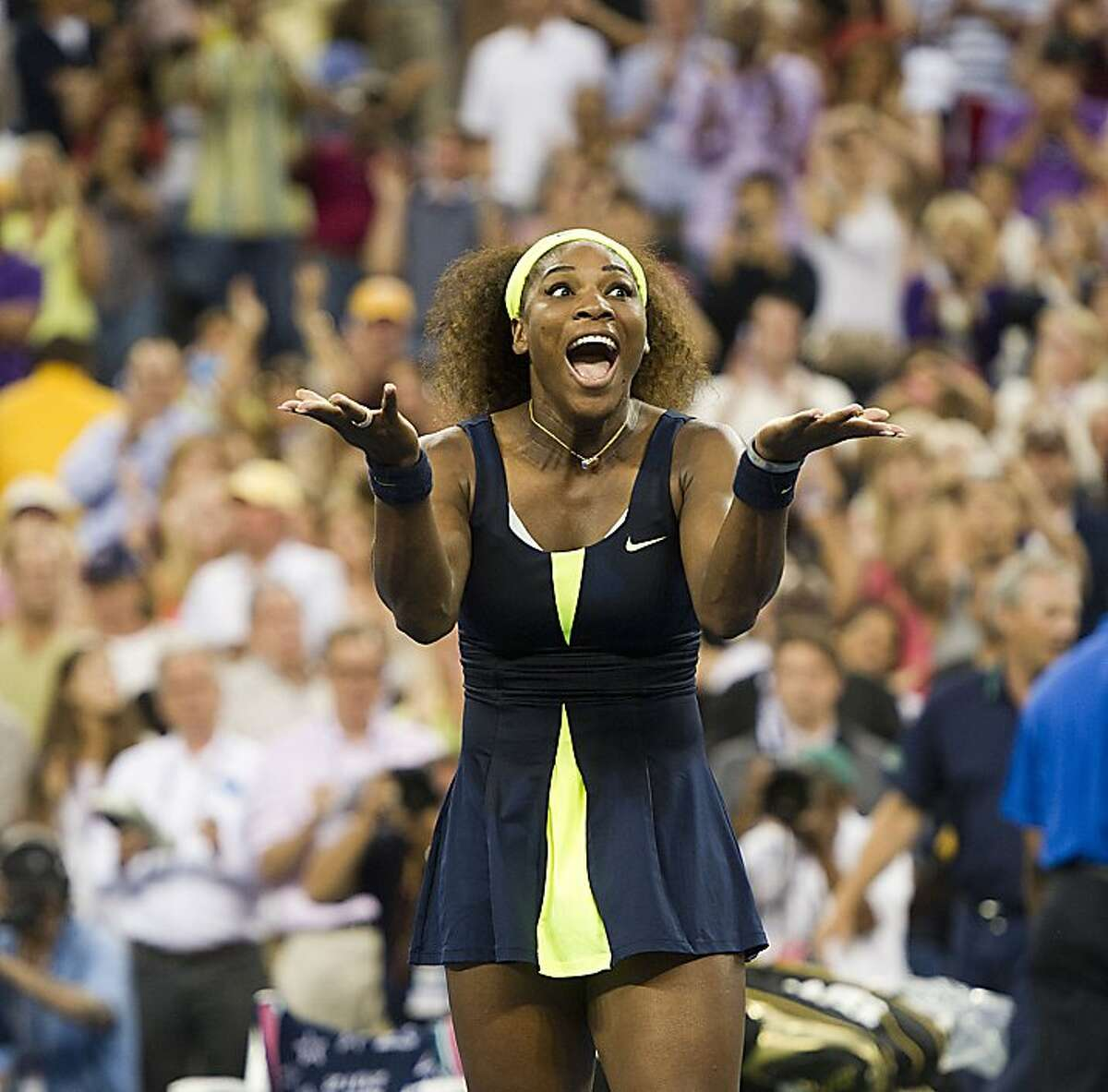 Serena Williams defeats Victoria Azarenka in the women's finals of the US Open tennis tournament at the USTA Billie Jean King National Tennis Center in Flushing Meadow, New York, Sunday, September 9, 2012. (J. Conrad Williams Jr./Newsday/MCT)