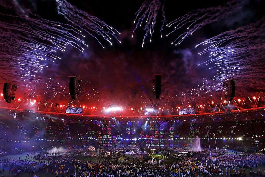 Fireworks explode over the stadium as rock band Coldplay perform at the closing ceremony for the 2012 Paralympics, Sunday, Sept. 9, 2012, in London. (AP Photo/Kirsty Wigglesworth) Photo: Kirsty Wigglesworth, Associated Press
