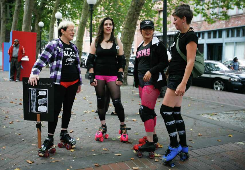 A group of women are shown wearing rollerblades.